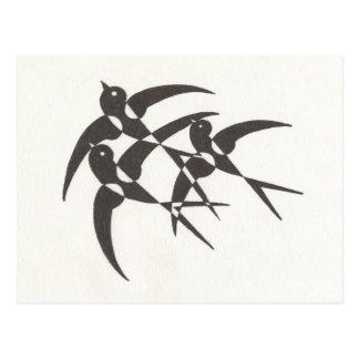 Art Deco Birds Postcard