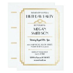 Art Deco Birthday Party 1920's Gatsby Gold Invite