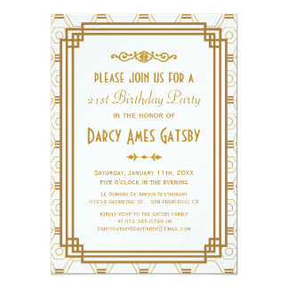 "Art Deco Birthday Party Invitations 5"" X 7"" Invitation Card"