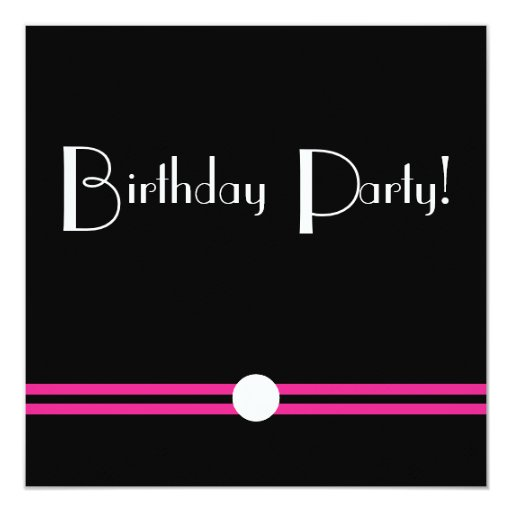 Art Deco Birthday Pary in Black  White Pink Card