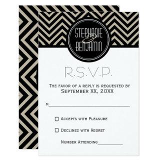 Art Deco Black and Beige Chevron Pattern Card
