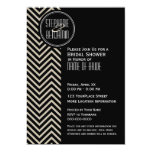 Art Deco Black and Beige Chevron Pattern Custom Announcements