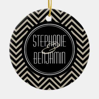 Art Deco Black and Beige Chevron Pattern Christmas Tree Ornament