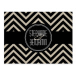 Art Deco Black and Beige Chevron Pattern Post Cards