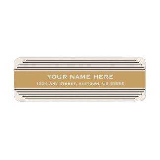 Art Deco, Black and Gold Horizontal Lines Label
