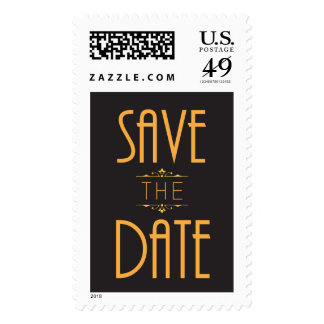 Art Deco Black and Gold Save the Date stamp