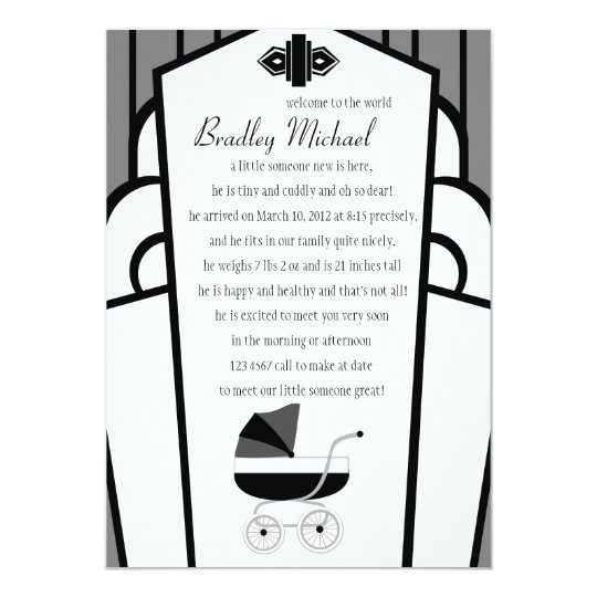 Art Deco Black and Gray Baby Buggy Card