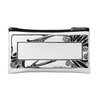 Art Deco Black and White Flower Border Nameplate Makeup Bag