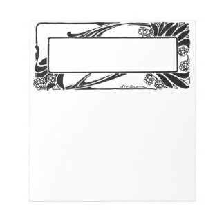 Art Deco Black and White Flower Border Nameplate Notepad