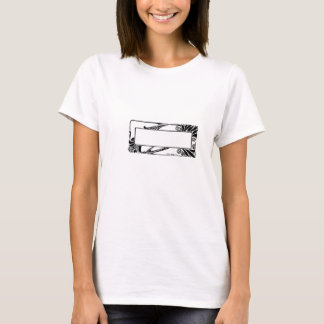 Art Deco Black and White Flower Border Nameplate T-Shirt
