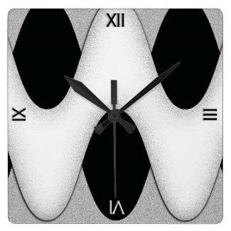 Art Deco Black and White Gleam Wave Wall Clock