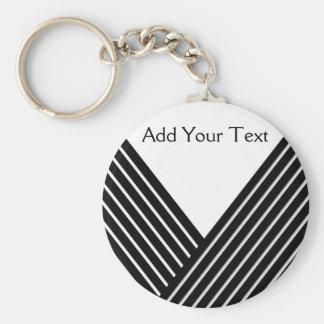 Art Deco Black and White Stripe Basic Round Button Keychain