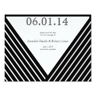 Art Deco Black and White Stripe Save the Date Invite