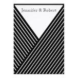 Art Deco Black and White Stripe Wedding Invitation