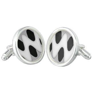Art Deco Black and White Wave Cufflinks