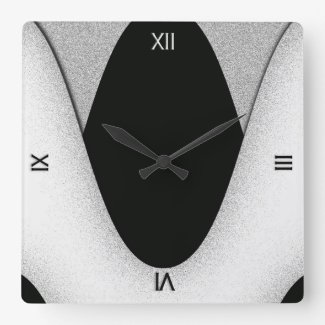 Art Deco Black and White Wave Wall Clock Square Wallclocks