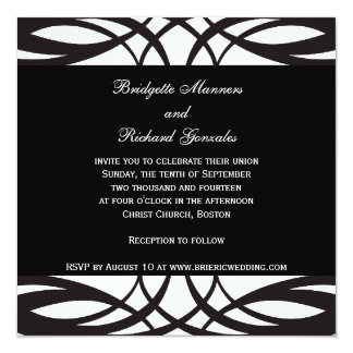 """Art Deco Black and White Wedding Invitations 5.25"""" Square Invitation Card"""