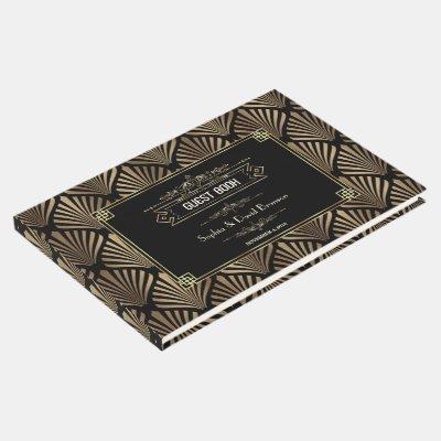 Art Deco Black Gatsby 1920s Style Wedding Guest Book