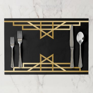 Wedding Themed Art Deco Black, Gold Black And Gold Gatsby Wedding Paper Placemat