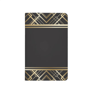 Art deco,black,gold,elegant,chic,monogram ready, journal
