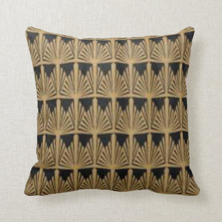 Art Deco Black & Gold Fan Design Throw Pillow