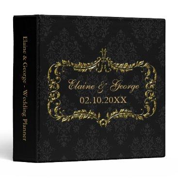 Art Deco Black Gold Photo Wedding Planner Binder