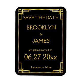Art Deco Black Gold Wedding Save The Date Magnet