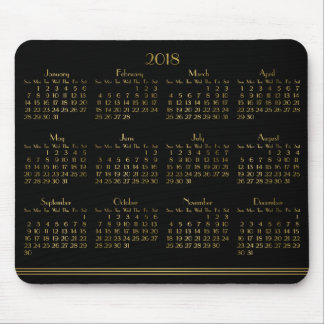 Art Deco Black Gold Yearly Calendar 2018 Mousepad