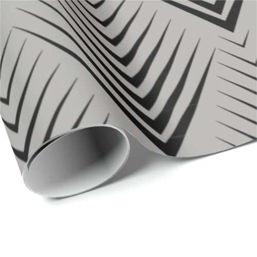 Art Deco Black Gray Elegant Minimal Botanical Wrapping Paper