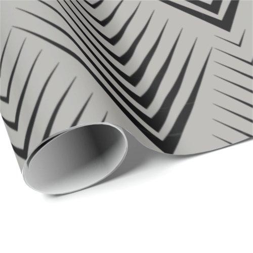 Art Deco Black Gray Elegant Minimal Botanical Wrapping Paper