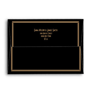 Art Deco Black Great Gatsby Wedding Envelopes A7