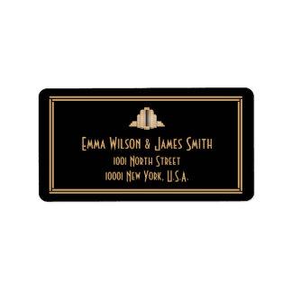 Art Deco Black Grey Great Gatsby Address Labels