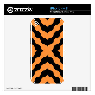 Art Deco Black, Orange Retro Abstract Art Decals For iPhone 4S