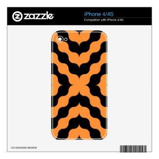 Art Deco Black, Orange Retro Abstract Art iPhone 4 Skin