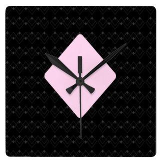 Art Deco Black & Pink Diamonds Suit Wall Clock