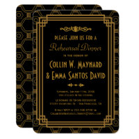 Art Deco Black Rehearsal Dinner Invitations