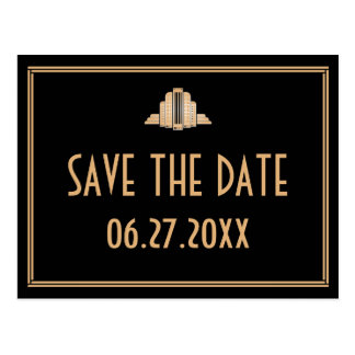 Art Deco Black Save The Date Postcard