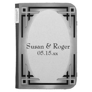 Art Deco Black Silver Wedding Kindle 3G Cases