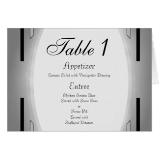 Art Deco Black & Silver Wedding Stationery Note Card