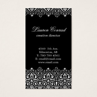 Art Deco Black Vertical Business Card with Monogra