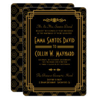 Art Deco Black Wedding Invitations