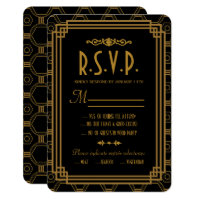 Art Deco Black Wedding Response Cards