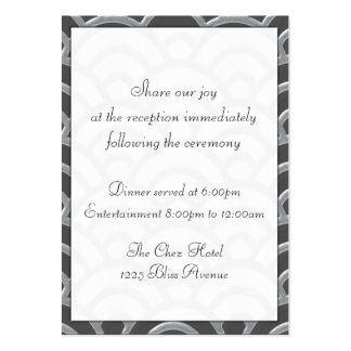 Art Deco Black, White, Silver Wedding Invites Large Business Cards (Pack Of 100)