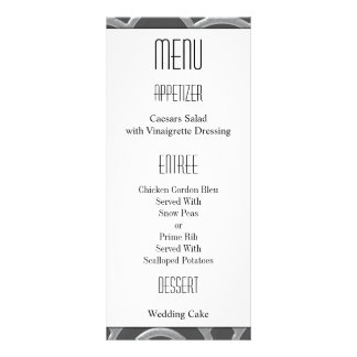 Art Deco Black, White, Silver Wedding Invites Custom Rack Cards
