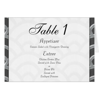 Art Deco Black, White, Silver Wedding Invites Stationery Note Card