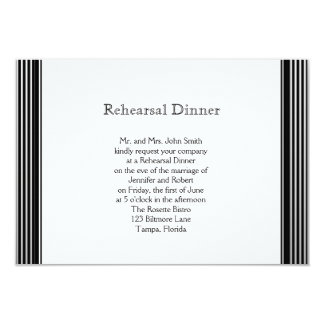 Art Deco Black White Stripe Wedding Rehearsal Announcement