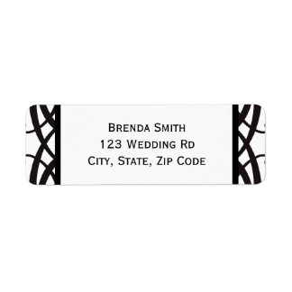 Art Deco Black White Wedding Address Labels