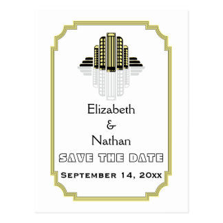 Art Deco black yellow wedding Save the Date Post Cards