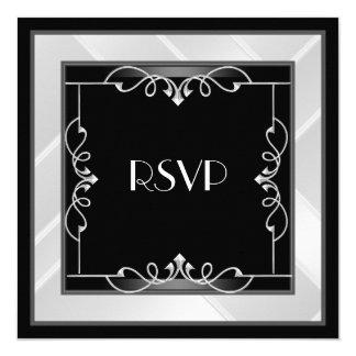 """Art déco blanco de plata negro elegante de RSVP Invitación 5.25"""" X 5.25"""""""