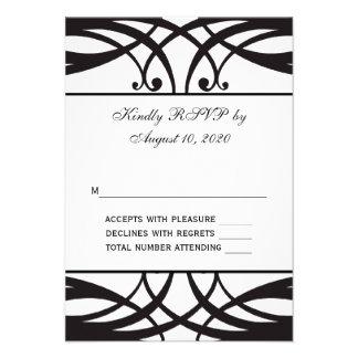 Art déco blanco negro que casa la tarjeta de RSVP Anuncios Personalizados